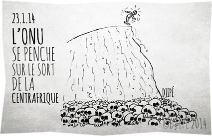brûlés vifs, caricatures, Centrafrique, dessin de presse, dessinateur, Djipé, enfants décapités, génocide, guerre, guerre civile, humour, humour noir, massacre, morts, ONU, villages incendiés, violences inter-religieuses,