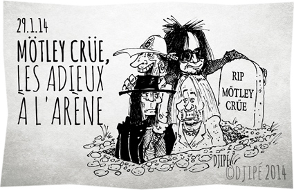 albums, Alice Cooper, caricatures, dessin de presse, dessinateur, Djipé, Dr. Feelgood, Generation Swine, Girls, glam rock, hard rock, heavy metal, humour, humour noir, John Corabi, Mick Mars, Mötley Crüe, New Tattoo, Nikki Sixx, Saints of Los Angeles, Shout at the Devil, the final tour, Theatre of Pain, Tommy Lee, Too Fast for Love, tournée, Vince Neil,