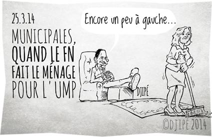 alliances, caricatures, dessin de presse, dessinateur, Djipé, élections, FN, humour, Jean-François Copé, mairies, Marine Le Pen, Municipales 2014, triangulaires, UMP,
