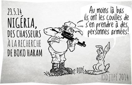Abubakar Shekau, Boko Haram, Borno, caricatures, chasse, chasseur, dessin de presse, dessinateur, Djipé, groupe islamiste, humour, humour noir, lapin, lycée de Chibok, lycéennes enlevées, Nigeria,