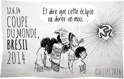 Amazonie, Brésil, caricatures, coupe du monde, culture indigène, dessin de presse, dessinateur, Djipé, football, forêt amazonienne, humour, humour noir, Kayap, Mato Grosso, préservation de la forêt amazonienne, Raoni Metuktire,