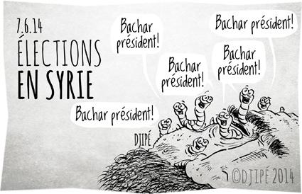 Bachar Al-Assad, caricatures, Damas, dessin de presse, dessinateur, Djipé, élection présidentielle, guerre civile, humour, humour noir, massacre, ONU, Parlement syrien, président, vers, viols,