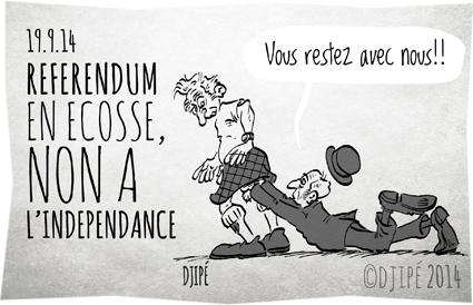 caricatures, dessin de presse, dessinateur, Djipé, écossais, Écosse, humour, humour noir, indépendance, kilt, référendum, Royaume-Uni,