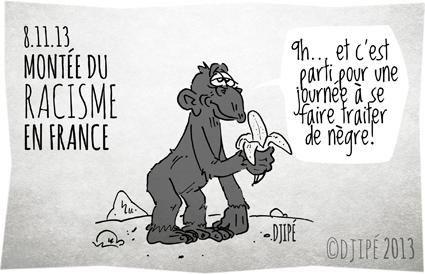 caricature, chimpanzé, dessin de presse, dessinateur, Djipé, France, humour, montée du racisme, politique, racisme, singe, Taubira,