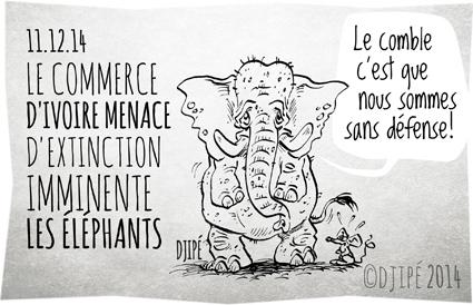 braconnage, caricatures, Chine, commerce, contrebande, défense de l'environnement, dessin de presse, dessinateur, Djipé, éléphants, extinction, humour, humour noir, Iain Douglas-Hamilton, ivoire, massacre, ONG, Save the Elephants, The Aspinall Foundation,