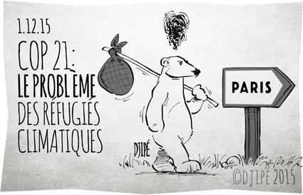 animaux, caricatures, catastrophe, climat, COP 21, dessin de presse, dessinateur, Djipé, écologie, humour, humour noir, ours, réchauffement, réfugiés climatiques,