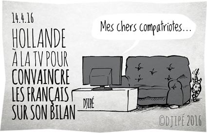 bilan, caricatures, dessin de presse, dessin satirique, dessinateur, Djipé, Français, François Hollande, humour noir, politique, télévision,