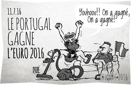 caricatures, compétition, dessin de presse, dessin satirique, dessinateur, Djipé, équipe de france, Euro 2016, football, France, humour noir, Portugal, sport,