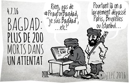 Aïd, attentat, Bagdad, caricatures, chiite, DAESH, dessin de presse, dessin satirique, dessinateur, Djipé, humour noir, mort, Paris, ramadan, victimes,