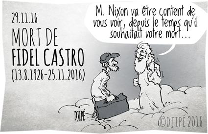 Adidas, caricatures, cigare, Cuba, dessin de presse, dessin satirique, dessinateur, Djipé, Fidel Castro, havane, humour noir, mort, Nixon,
