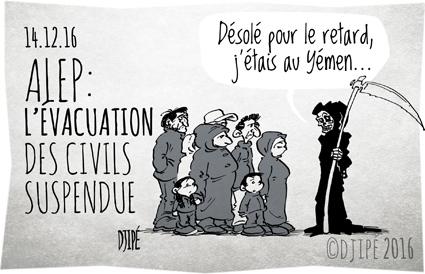 Alep, caricatures, civils, dessin de presse, dessin satirique, dessinateur, Djipé, enfants, guerre, humour noir, mort, Russie, Syrie, Turquie, Yemen,