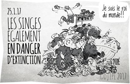 animaux, baleine, caricatures, consommation, dessin de presse, dessin satirique, dessinateur, disparition, Djipé, éléphant, extinction, humanité, humour noir, lion, poisson, singe, tigre,