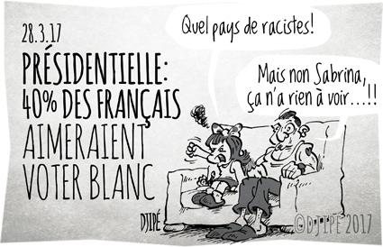 caricatures, dessin de presse, dessin satirique, dessinateur, Djipé, élection, Fillon, France, humour noir, Le Pen, Macron, présidentielle, racisme, vote blanc,