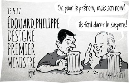 caricatures, dessin de presse, dessin satirique, dessinateur, Djipé, Edouard Philippe, gouvernement, humour noir, Juppé, Macron, Matignon, politique, Premier ministre,