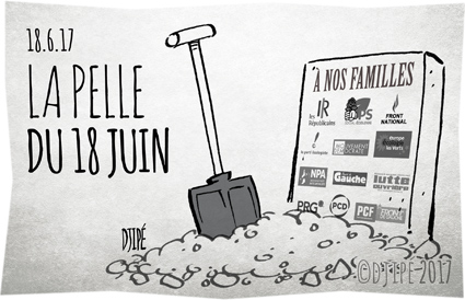 #LaRépubliqueEnMarche, Appel du 18 juin, caricatures, démocratie, dessin de presse, dessin satirique, dessinateur, Djipé, humour noir, législatives, LREM, Macron,