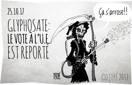 abeilles, agriculteurs, caricatures, dessin satirique, dessinateur, Djipé, glyphosate, humour noir, mort, pesticide, Round Up, santé, Union européenne,
