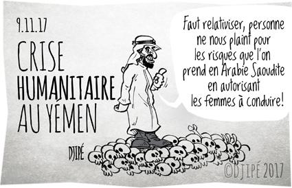 Arabie saoudite, caricatures, crise humanitaire, dessin satirique, dessinateur, Djipé, droit, enfants, femmes, guerre, humour noir, mort, ONU, victimes, Yemen,