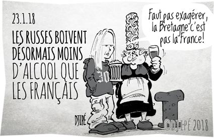 alcool, alcoolique, Bretagne, breton, caricatures, chouchen, consommation, dessin de presse, dessin satirique, dessinateur, Djipé, France, humour noir, russe, santé, vodka,