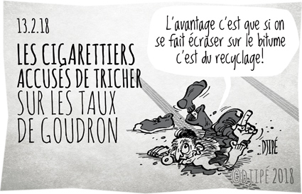 accident, cancer, caricatures, dessin de presse, dessin satirique, dessinateur, Djipé, Filtergate, goudron, humour noir, industrie, mort, nicotine, route, tabac,