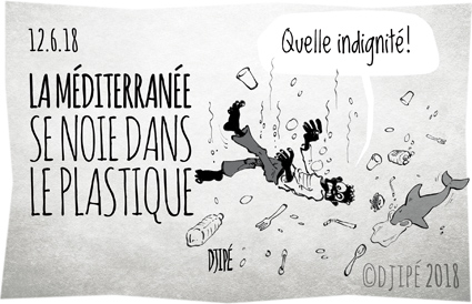 alerte, Aquarius, caricatures, déchets, dessin de presse, dessin satirique, dessinateur, Djipé, humour noir, mammifères, Méditerranée, mer, migrants, mort, noyade, plastiques, poissons, Quelle indignité, recyclage, WWF,