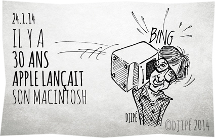 Apple Computer, Bill Gates, caricatures, dessin de presse, dessinateur, Djipé, humour, humour noir, Mac, Macintosh, PC, premier ordinateur personnel avec souris, Steve Jobs, Windows,