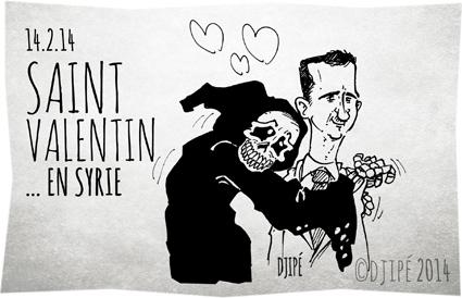 14 février, Alep, amour, Bachar el-Assad, cadeaux, caricatures, couples, crime contre l'humanité, dessin de presse, dessinateur, Djipé, fête des amoureux, génocide, grand amour, humour, humour noir, mots doux, passion, roses rouges, Saint-Valentin, Syrie,