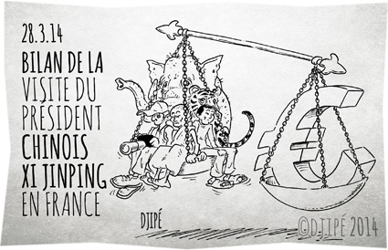caricatures, Chine, contrats, dessin de presse, dessinateur, Djipé, droits de l'homme, François Hollande, humour, massacre éléphants, plusieurs milliards d'euros, président chinois, reporter sans frontières, Tibet, tigres, torture des animaux, visite officielle, Xi Jinping,