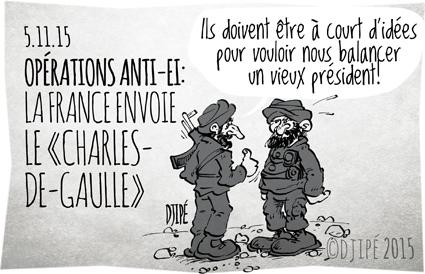 armée française, caricatures, Charles-de-Gaulle, DAESH, dessin de presse, dessinateur, Djipé, État islamique, guerre, humour, humour noir, Irak, porte-avions, Syrie,