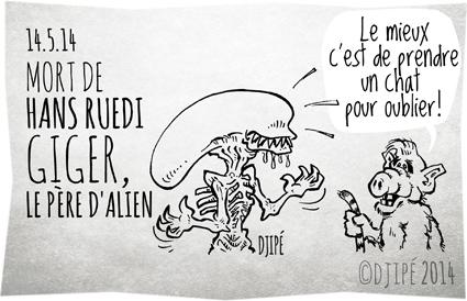 Alf, Alien, caricatures, dessin de presse, dessinateur, Djipé, Hans Ruedi Giger, humour, humour noir, Ridley Scott, science fiction,