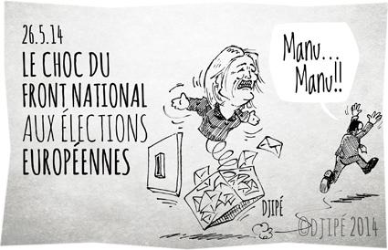 caricatures, dessin de presse, dessinateur, Djipé, élections européennes 2014, FN, François Hollande, Front national, grand vainqueur, humour, humour noir, Marine Le Pen, Parlement européen,