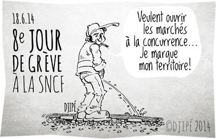 caricatures, CGT, cheminots, conducteur, dessin de presse, dessinateur, Djipé, FO, grève, gréviste, humour, humour noir, RER, SNCF, Sud-rail, syndicats, TGV,