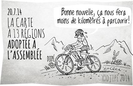 13 régions, Assemblée, caricatures, cyclisme, découpage, dessin de presse, dessinateur, Djipé, dopage, humour, humour noir, maillot jaune, nouvelle carte, régions, tour de France,