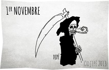 1er novembre, caricature, dessin de presse, dessinateur, Djipé, fête, humour, humour noir, Toussaint,