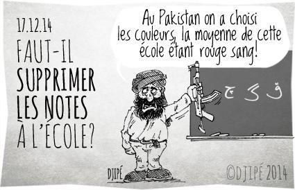 caricatures, couleurs, dessin de presse, dessinateur, Djipé, école, élèves, enfants, humour, humour noir, massacre, notes, Pakistan, Peshawar, talibans,