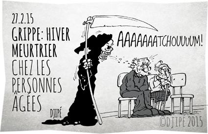 caricatures, décès, dessin de presse, dessinateur, Djipé, grippe, hiver, humour, humour noir, institut de veille sanitaire, personnes âgées,
