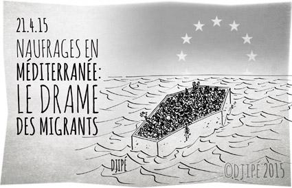 caricatures, dessin de presse, dessinateur, Djipé, humour, humour noir, Libye, Méditerranée, migrants, naufrage, noyade, OIM, Organisation internationale pour les migrations, Syrie,