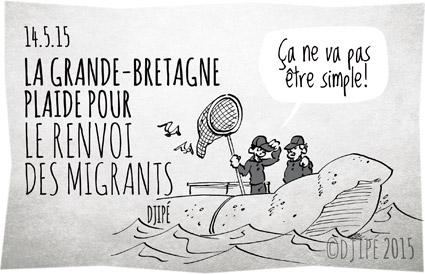 caricatures, dessin de presse, dessinateur, Djipé, europe, Grande-Bretagne, humour, humour noir, Méditerranée, migrants, réfugiés, sauvetage en mer,