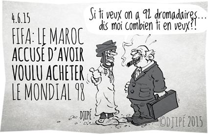 caricatures, Chuck Blazer, Coupe du monde 1998, dessin de presse, dessinateur, Djipé, FBI, Fifa, football, humour, humour noir, Maroc, Mondial, Sepp Blatter,