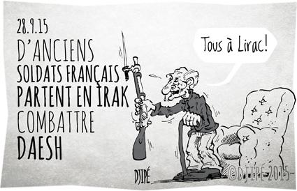 caricatures, DAESH, dessin de presse, dessinateur, Djipé, État islamique, guerre, humour, humour noir, Irak, Lirac, milice, militaires, soldats, volontaires,