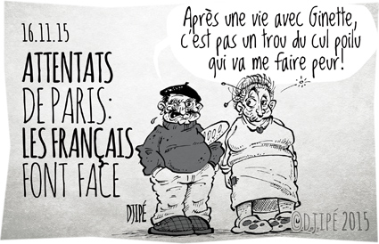 attentat, Bataclan, caricatures, concert, DAECH, DAESH, dessin de presse, dessinateur, Djipé, guerre, humour, humour noir, Metal, Paris,