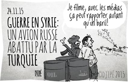 caricatures, DAESH, dessin de presse, dessinateur, Djipé, guerre, humour, humour noir, mort, Russie, Sukhoi Su-24, Syrie, Turquie,