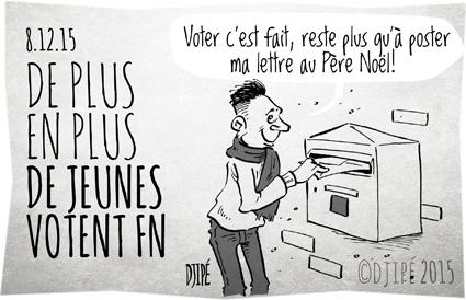 caricatures, dessin de presse, dessinateur, Djipé, Élections Régionales, FN, Front national, gouvernement, humour, humour noir, jeune, Le Pen, politique, vote,