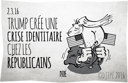 asshole, caricatures, Clinton, dessin de presse, dessin satirique, dessinateur, Djipé, GOP, humour noir, Républicains, Super Tuesday, Trump, USA,