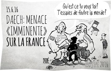 attentat, caricatures, DAECH, dessin de presse, dessin satirique, dessinateur, Djipé, Euro 2016, France, hooligan, humour noir, menace, terrorisme, terroriste,