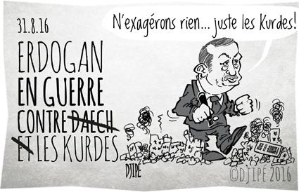 caricatures, civils, DAECH, dessin de presse, dessin satirique, dessinateur, Djipé, Erdogan, guerre, humour noir, Jarablus, Jeb el-Koussa, Kurdes, massacre, Syrie,