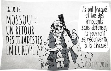 Attentats, caricatures, chasseur, DAESH, dessin de presse, dessin satirique, dessinateur, Djipé, europe, guerre, humour noir, Irak, jihadistes, Mossoul, terroriste,