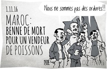 Al Hoceima, caricatures, Casablanca, dessin de presse, dessin satirique, dessinateur, Djipé, hogra, humour noir, manifestation, Maroc, Marrakech, mort, Mouhcine Fikri, poisson, Rabat, Setta, vendeur,