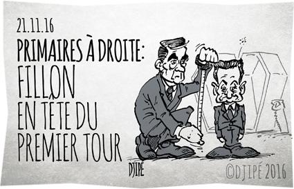 caricatures, dessin de presse, dessin satirique, dessinateur, Djipé, élections, Fillon, humour noir, Juppé, mort, NKM, politique, primaire, Sarkozy,