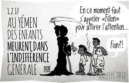 Arabie saoudite, caricatures, dessin de presse, dessin satirique, dessinateur, Djipé, enfants, Fillon, guerre, humour noir, mort, ONU, Penelopegate, Yemen,