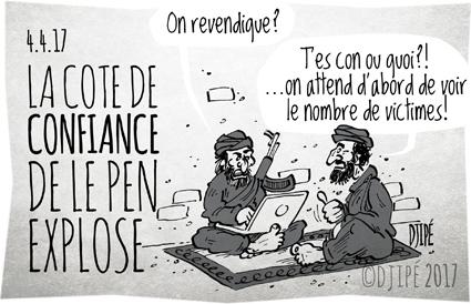#LeGrandDebat, attentat, caricatures, dessin de presse, dessin satirique, dessinateur, Djipé, Fillon, humour noir, Le Pen, Macron, Mélenchon, présidentielle, terrorisme,